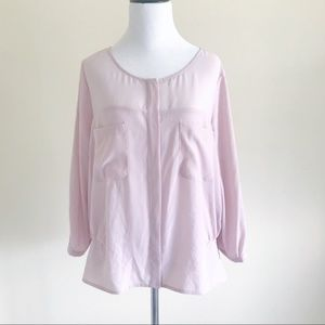 DKNY Pink Blouse with Roll Sleeves & Sheer Panels